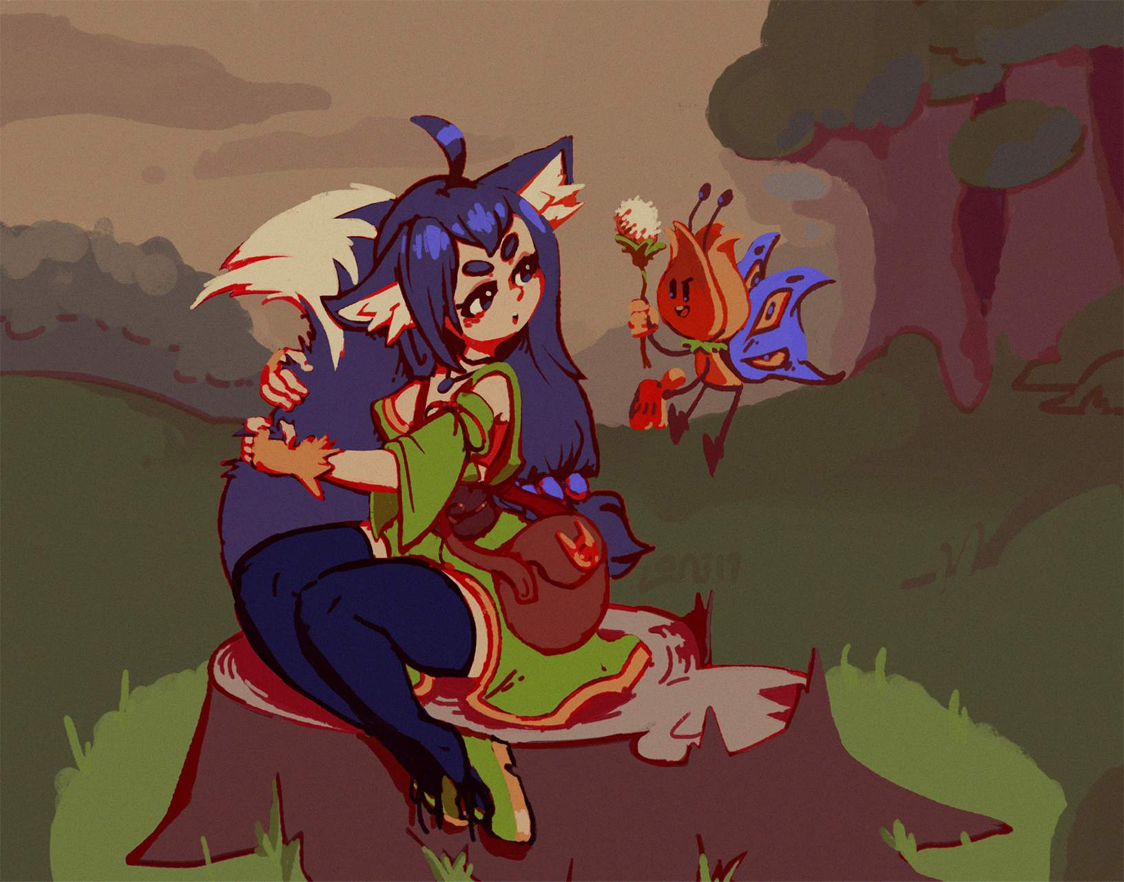 a foxgirl in a forest, shooing a mean fairy